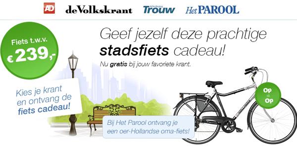 fiets cadeau bij krant