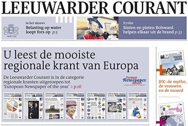 Voorpagina van Leeuwarder Courant (LC)