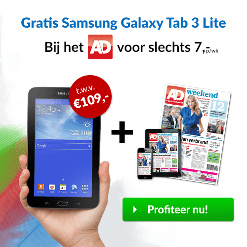 Bij AD een Samsung tab 3 Lite