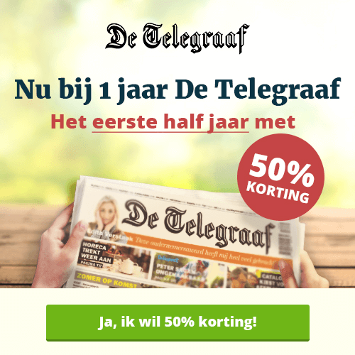 Eerste 6 maanden 50% korting bij Telegraaf